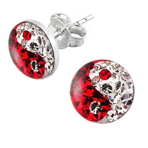 Epoxy Clover Multi Kristall Stein rot und klar Yin Yang 925 Sterling Silber Ohrstecker