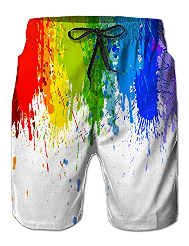 NEWISTAR Herren 3D Jogger Freizeitshorts Sportshorts Kurze Hose Shorts Badehose M Rainbow