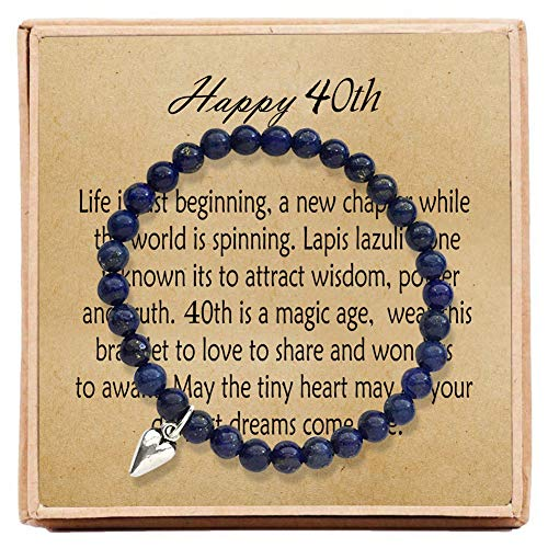 OFGOT7 40th Birthday Gifts for Women Turning 40 – Bead Bracelet with Message Card & Gift Box - Fortieth