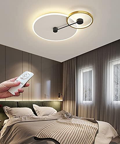 LED Lámpara de techo Regulable Luz De Techo sala de estar dormitorio con control remoto Creatividad moderna iluminación interior redonda Luz de dormitorio de acrílico metálico 48W 3000K-6000K 50cm