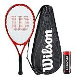 Wilson Pro Staff Precision Raquette de tennis avec housse de performance et 3 balles de tennis Championship (P/S Precision XL 110)
