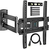 PERLESMITH TV Wall Mount Bracket Full Motion Single Articulating Arm for Most 32-55 Inch LED, LCD, OLED, Flat Screen, Plasma TVs with Tilt, Swivel and Rotation up to 99lbs VESA 400x400mm