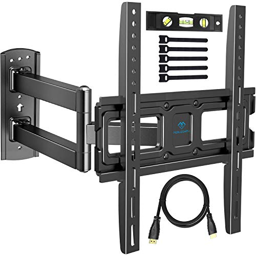 PERLESMITH TV Wall Mount Bracket Full Motion Single Articulating Arm for Most 32-55 Inch LED, LCD, OLED, Flat Screen, Plasma TVs with Tilt, Swivel and Rotation up to 77lbs VESA 400x400mm