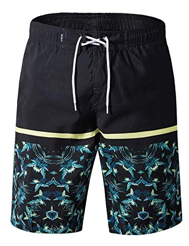 APTRO Men's Swimming Trunks with Pockets Beach Swimwear Quick Dry Elastic Waist Board Shorts (L, Y-Black with mesh Lining)