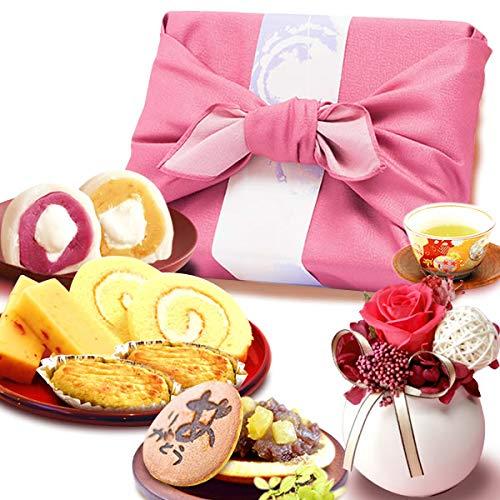 誕生日 の プレゼント 人気商品 花 バラ おいもや どら焼き お菓子 花とスイーツ お祝いギフト プリザーブドフラワー アレンジメント (白色)