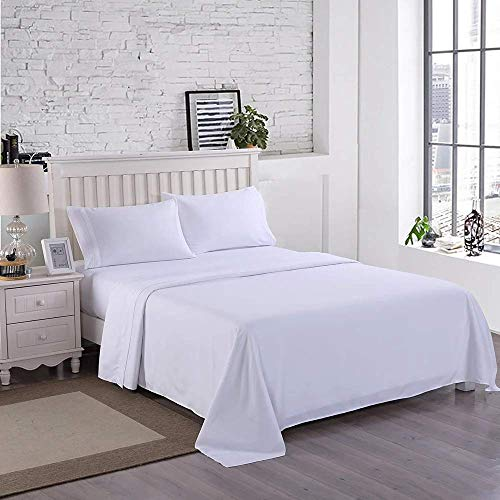 Wonwo Bed Sheet Set Queen Size Hotel Luxury Quality Sheets Brushed Microfiber 1800 Thread Count Sheets Hypoallergenic 16 inch Deep Pocket, 1 Flat Sheet, 1 Fitted Sheet, 2 Pillowcases, White
