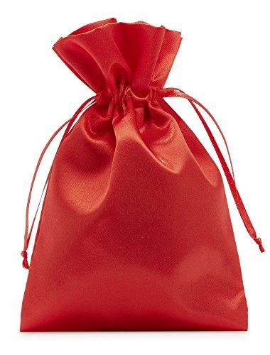 10 bolsas de satén con cordón para cerrar, tamaño 40x30 cm, bolsita de satén, envoltorio elegante para regalos, joyas, navidad, cumpleaños y bautizos (rojo)