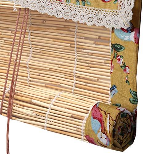 S-AIM Natürlicher Reed-Vorhang, Bambus-Rollos, Retro-Dekorationsvorhänge, Außenterrassen-Trennrollo, Lichtfilterung/Anti-UV/Retro/Wasserdicht