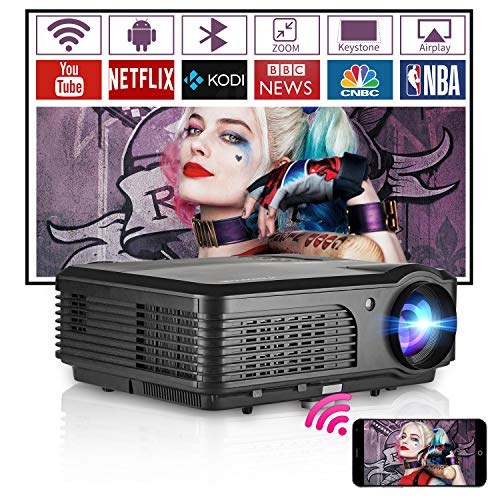 Smart HD Video Projectors Home Cinema LED Wifi Bluetooth Wxga 4600 Lumens Multimedia TV Movie Theater Projectors with Airplay HDMI USB Audio Zoom Function for Laptop Game Consoles Phone DVD Basement