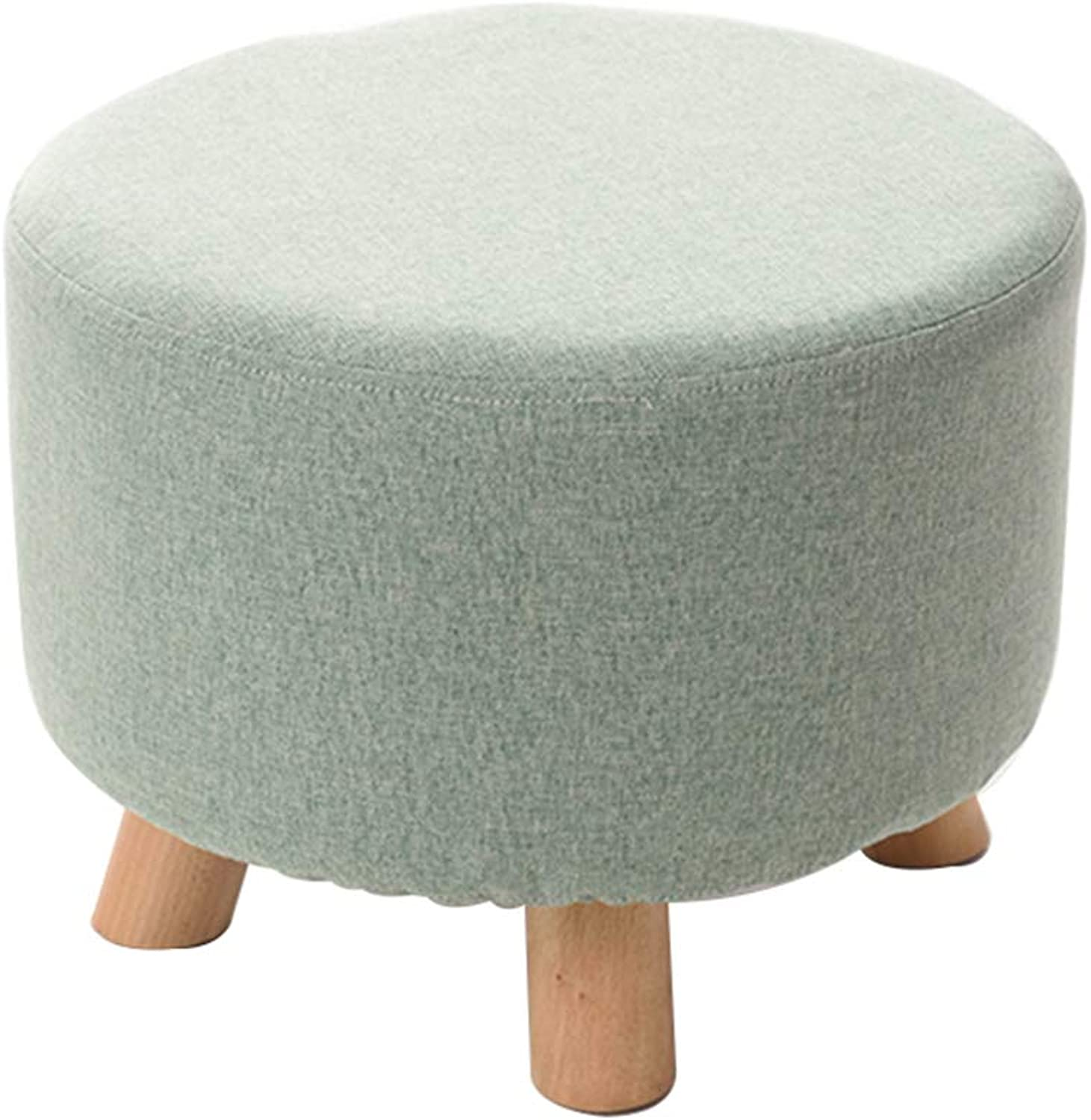 Footstool,Anti-Slip Vanity Stool,Household Dinning Stool,Wooden Legs Stable and Durable,Great for Kitchen, Bathroom, Bedroom, Kids or Adults(42x42x30cm),Green