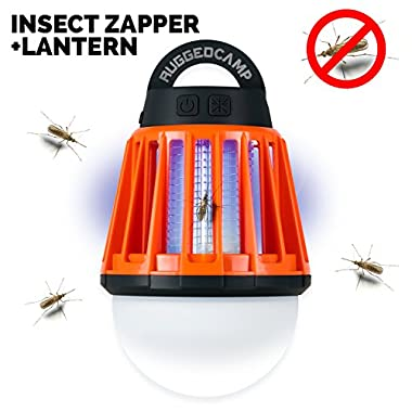 Camping Lantern and Bug Zapper - Rechargeable LED Lantern and Flashlight- Lightweight Camping Gear and Accessories For The Outdoors and Emergencies - Made By RuggedCamp