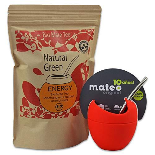 Starterset Delicatino Premium Mate Tee Energy 200g + Mate Mateo ORIGINAL – rot