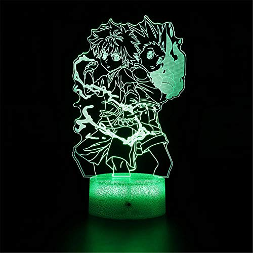 Hunter X Hunter E 3D Luz de noche de ilusión 3D, 16 colores, control táctil USB, lámpara de decoración de fiesta, lámpara 3D, para decoración del hogar, regalos de cumpleaños de Navidad