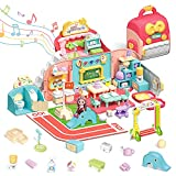 O WOWZON Doll Houses Portable for Indoor for Girls Compatible with Dolls, Toy House with Musical Pretend Play, 49pcs Dollhouse Furniture Set for 3 to 7 Years Olds Toddler and Kids