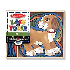 With adorable pets pictured on both sides, it's fun to practice lacing and tracing skills Charming animals encourage lacing practice 5 double-sided, wooden animals with color-coordinated laces included Ideal for practice of fine motor skills Makes a ...