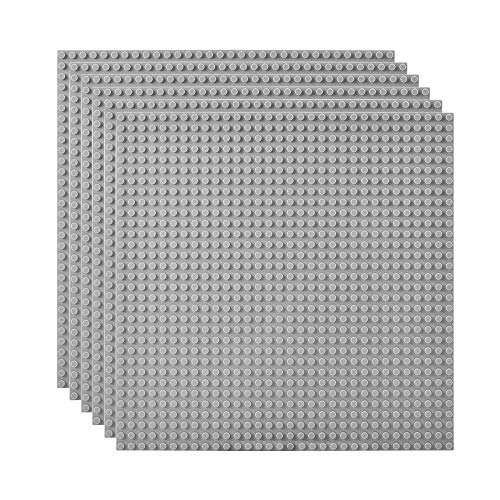 Lekebaby Classic Baseplates Building Base Plates for Building Bricks 100% Compatible with Major Brands-Baseplate 10' x 10', Pack of 6, Grey