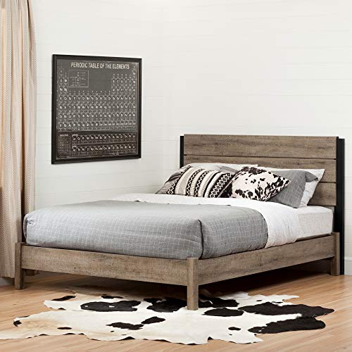 Amazing Deal South Shore Munich Platform Bed Set-Full-Weathered Oak and Matte Black
