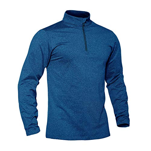 TACVASEN Laufshirt Herren 1/2 Zip Longsleeve Fleece Gym Top Sportliches Langarmshirt Leichte Sport Base Layer Fitness Jogging Oberteile Running Trainingstop Warmes Freizeit Winter Top Blau
