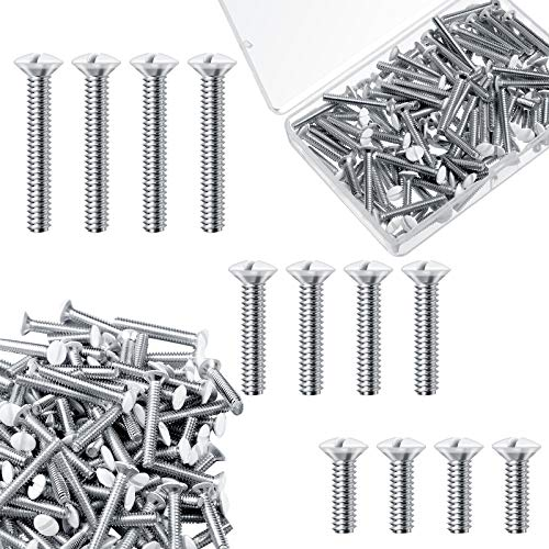 120 Pieces Wall Plate Screws Switch Cover Screws 6-32 Thread Wall Panel Screws Oval Head Replacement Socket Screws Milled Slot Screws for Wall Light Switch Panels, 3 Size