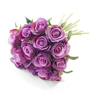 Pizarra artificial de 25 cm, color lila y púrpura, con 15 flores, tallos – boda para el hogar