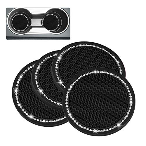 4 Pack Bling Car Coasters, PVC Auto Car Cup Holder Insert Coaster - Anti Slip UniversalVehicleInterior Accessories Crystal Glitter Cup Mats for Women and Girl by Cacturism, Black, 2.75' Diameter