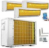 A++/A++/A++ TrioSplit Golden-Fin WiFi / WLAN 3 x 3,5 kW – 3 x 12000 BTU MultiSplit Aire Aire Aire Acondicionado y Calefacción Incluye 3 x Módulos WiFi incluidos