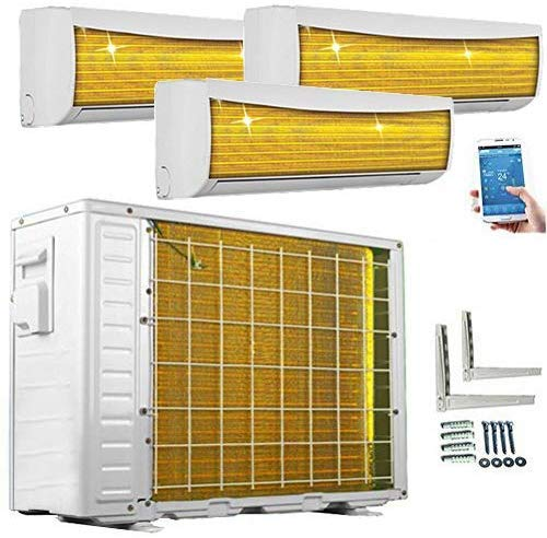 A++/A++/A++ TrioSplit Golden-Fin WiFi/WLAN 3x 3,5kW - 3x 12000 BTU MultiSplit Klimaanlage INVERTER Klimagerät und Heizung Inkl. 3x WiFi-Module im Lieferumfang