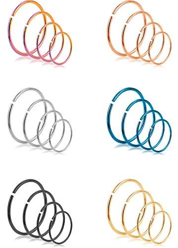REVOLIA 24Pcs 22G 316L Stainless Steel Nose Rings Hoop Cartilage Ear Septum Piercings 6-12mm