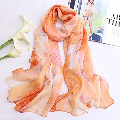 Xingling 100% Seide Chiffon Print Größe Schal/Schal/Strand Sonnencreme, Anti-allergische Mode qualitativ hochwertige Schal 170 * 110cm,BLCE-03
