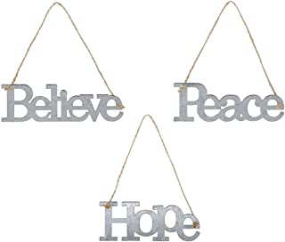 Galvanized Metal Believe Peace Hope Christmas Ornament Set