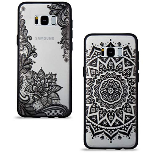 2 Stück Samsung Galaxy S8 Hülle, Handyhülle mit Vintage Cool Schwarz Mandala Spitze Design Durchsichtig Silikon Hülle Hart Backcover Weich Bumper Stoßdämpfend Schutzhülle für Samsung Galaxy S8