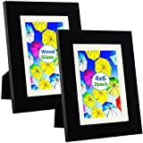 4x6 Picture Frame Black (2 Pack) with Mat for 3x5...