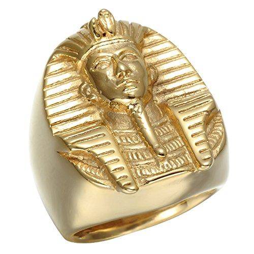 Epinki Joyería Acero Inoxidable Anillo Oro Egipcio Faraón Anillo para Hombre Tamaño 25