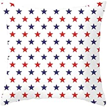 Independence Day Pillow Covers 18x18 4th of July Patriotic Throw Pillow Cases Red and White Stripes Stars Print Color Block Square Washable Durable Pillowcase Freedom Inspired