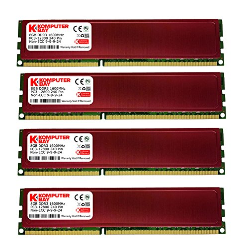 Komputerbay Arbeitsspeicher für PC, mit Hitzeverteilern, 32 GB RAM (4x8GB), DIMM, 240-Pin, 1600MHz, PC3-12800, DDR3, Rot