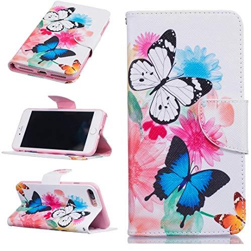 Funda tipo cartera para iPhone 7 Plus con diseño de mariposa, iPhone 8 Plus con tarjetero y función atril para iPhone 7 Plus y iPhone 8 Plus