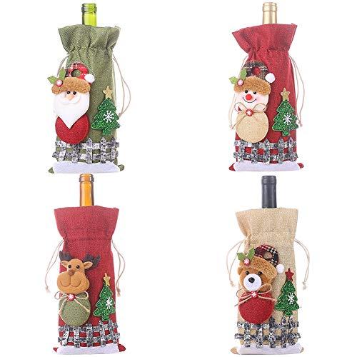 Fauge la Bolsa de Tapas de Botella de Vino Tinto de Navidad Lino Vacaciones Santa Claus Tapa de Botella de ChampáN Decoraciones de Navidad