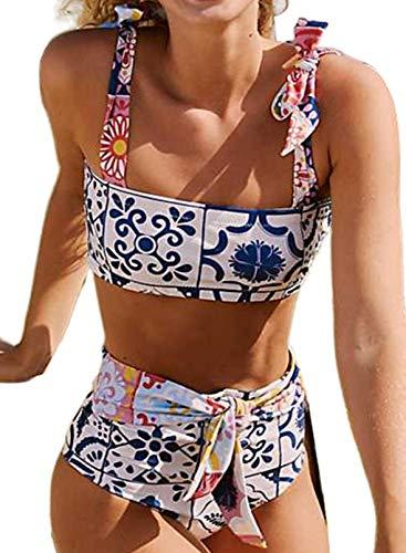 CORAFRITZ Conjunto de bikini bandeau de dos piezas de cintura alta con nudo frontal, estampado floral, corte alto, traje de baño con control de barriga