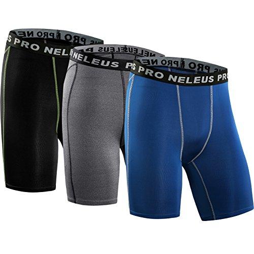 Neleus Men's 3 Pack Compression Short,047,Black,Grey,Blue,US L,EU XL