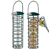 Kasachoy 2 comederos para pájaros al Aire Libre, comederos para pájaros Silvestres para Bolas de Grasa/Bolas de sebo, alimentador de pájaros de Metal a Prueba de Ardillas, Soporte de Bolas de Grasa