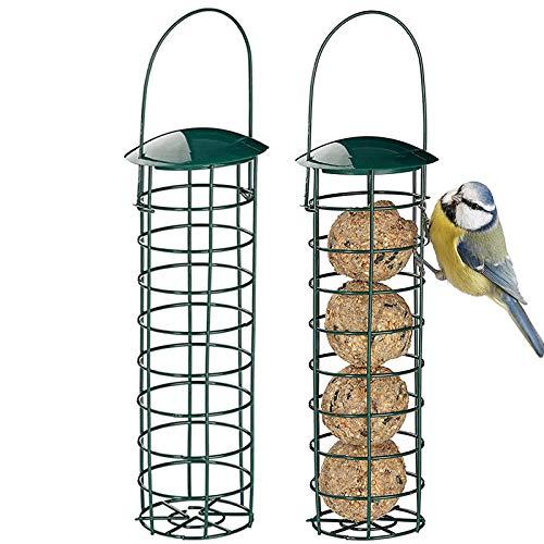 Kasachoy 2 comederos para pájaros al Aire Libre, comederos para pájaros Silvestres para Bolas de Grasa/Bolas de sebo, alimentador de pájaros de Metal a Prueba de Ardillas, Soporte de Bolas de