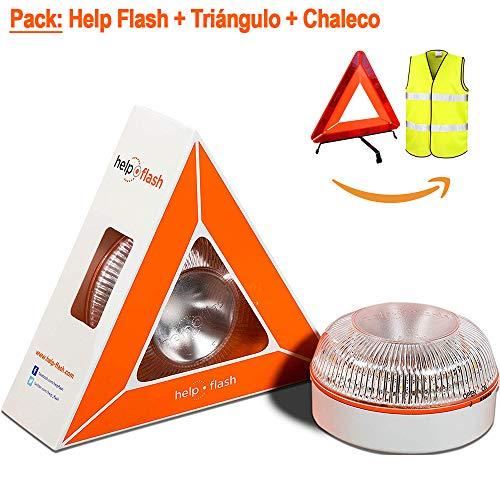 NK Help Flash Pack Asistencia en Carretera - Luz de Emergencia autónoma - Señal v16 de preseñalización de Peligro, homologada DGT + Chaleco de Seguridad Reflectante + Triángulo Reflectante (3)