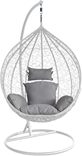 Outdoor Hanging Pod Chair Garden Patio Rattan Egg Chair with Cushions (Grey w/Grey Cushion)