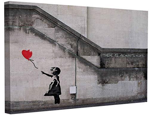 Banksy Bilder Leinwand There is Always Hope Graffiti Street Art Leinwandbild Fertig Auf Keilrahmen Kunstdrucke Wohnzimmer Wanddekoration Deko XXL (40x60cm(15.7x23.6inch))