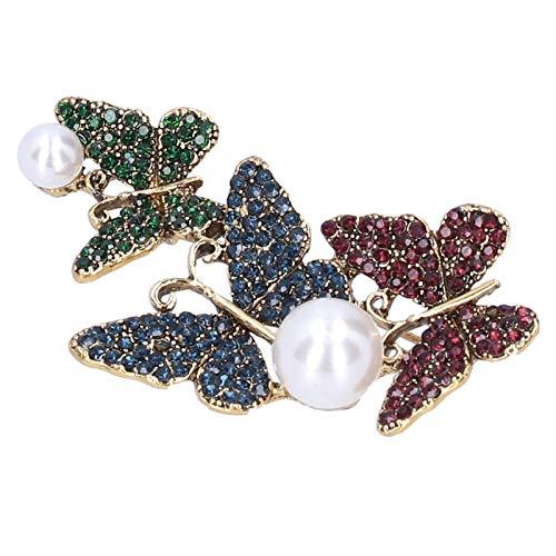 Broche Pin Diamante Shinning Crystal Mariposa Patrón Pin de solapa Escudo Insignias Fiesta Ramillete Accesorios(B)