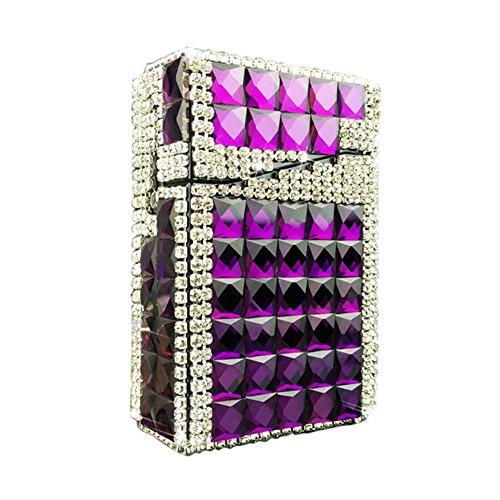 Stylish Rhinestone Women Cigarette Case Cigarette Holder Box Cigar Protective Cover, Purple