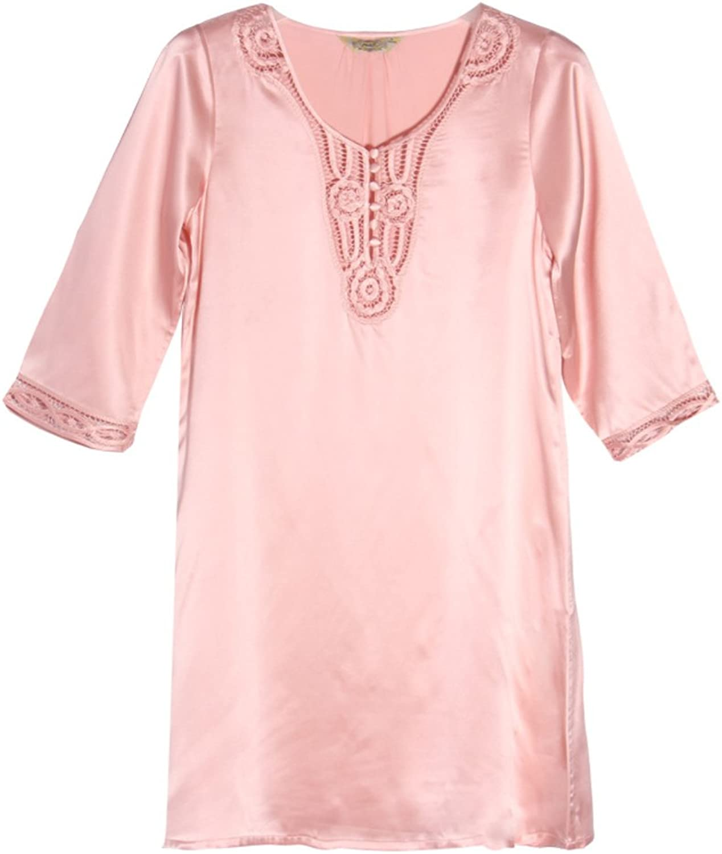 100% Silk Women's Robe,Loose Lace Bathrobe 3 4 Sleeve Sleepwear Satin Pajama