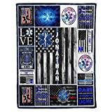 Personalized Custom Name EMS EMT Paramedic Star of Life Thin White Line American Flag Appreciation Birthday Christmas Fleece Sherpa Blanket Bed Throw Size Tapestry Wall Hanging