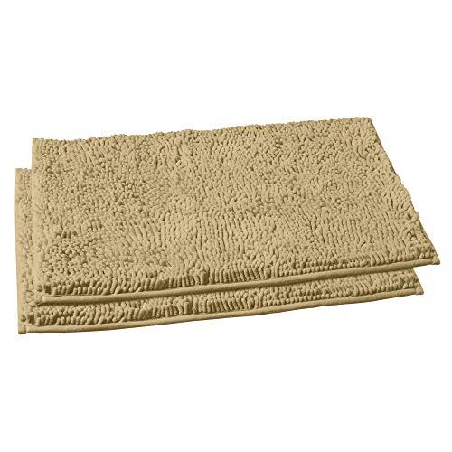 LuxUrux Bathroom Rug Mat Set–Extra-Soft Plush Bath mat Shower Bathroom Rugs 16 x 24 inch Set,1'' Chenille Microfiber Material, Super Absorbent. (Rectangular Mini Set, Lavender)