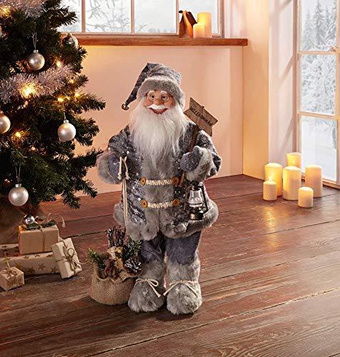 große Deko-Figur Willkommen 61 cm hoch, Santa Nikolaus Weihnachtsmann mit Willkommen-Schild